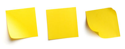 Post-it. Yellow blank post-it notes isolated on white
