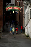 Post Alley. Tourist walking in Seattle royalty free stock photos