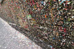 Post Alley Chewing Gum Wall Seattle Washington USA. Gum travels up the wall at Market Theater Post Alley Seattle WA royalty free stock images