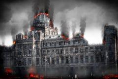 Post apocalyptic destroyed building. Digital illustration.  vector illustration