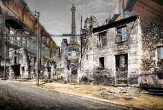 Post-apocalyptic Effel Tower. View of the post-apocalyptic Eiffel Tower royalty free stock photo