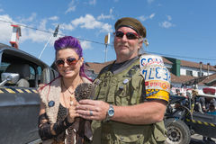 Post-apocalyptic survival costume couple Stock Images