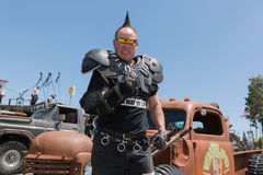 Post-apocalyptic survival costume man. Torrance, USA - May 21, 2016: Post-apocalyptic survival costume man during 1st Annual Wasteland World Car Show stock photography