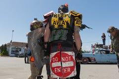 Post-apocalyptic survival costume man Stock Image