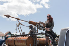 Post-apocalyptic survival costume woman Royalty Free Stock Photography