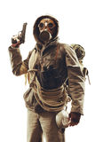 Post apocalyptic survivor in gas mask Stock Images
