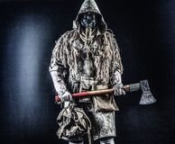 Nuclear post-apocalypse creature brandishing ax Stock Photography