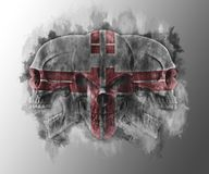 Post apocalyptic three tribal skulls. On gray background vector illustration