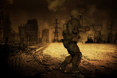 Post Apocalyptics scenario. Man in a post Apocalyptic scenario Royalty Free Stock Photography