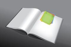 Post-It auf Buch lizenzfreie abbildung