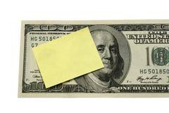 Post-It auf Dollar-Konzept Lizenzfreies Stockbild