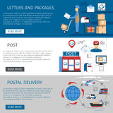Post Banners Set. Post horizontal banners set with letters and packages delivery symbols flat isolated vector illustration Royalty Free Stock Photo