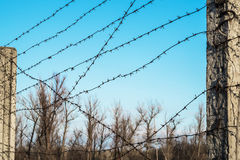 Post with barbed wire against the sky Stock Images