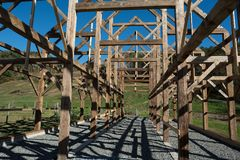 Post and Beam construction new england barn. Post and Beam construction. New England barn raising Royalty Free Stock Photography