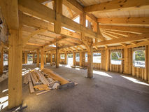 Post and beam interior construction. Used for large open spaces Stock Photo