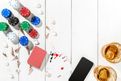Post blog social media poker. Banner template layout mockup for online casino. Wooden white table, top view on workplace Royalty Free Stock Image