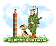 Post border post dog   kalashnikov Stock Images