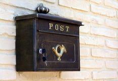 Post Box. British postal box on a brick wall Royalty Free Stock Images