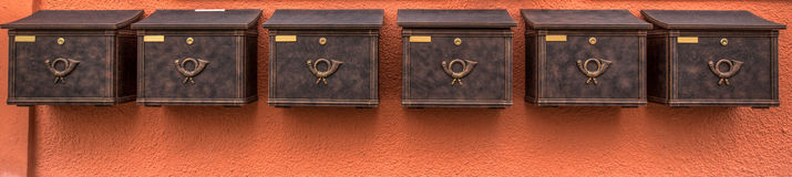 Post Box. A group of post box in Dinkelsbuhl, Bavaria, Germany Royalty Free Stock Photo