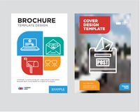 Post box brochure flyer design template. With abstract photo background, Ar glasses, ID and mail, Mail, Laptop and mail minimalist trend business corporate roll Stock Photography