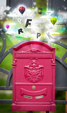 Post box with colorful letters Royalty Free Stock Photography
