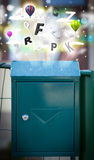 Post box with colorful letters Stock Images