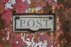 Post Box  Grunge. Faded, old rusty post box grungy background Royalty Free Stock Photos