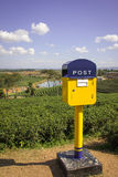 Post box on hill. Colorful post box on tea  firlds, in thailand Stock Photography