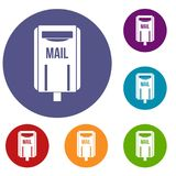 Post box icons set. In flat circle red, blue and green color for web Stock Image