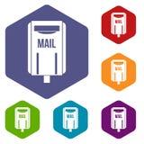 Post box icons set hexagon. Isolated vector illustration Stock Photos