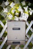 Post box with daily newspapers flying Stock Photography