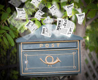 Post box with daily newspapers flying Royalty Free Stock Photos