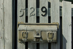 Post box nr. 529. Very old U.S. MAIL post box on the wood doors Stock Photos