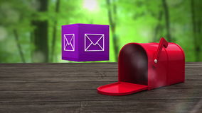 Post box opening to show at email icon stock video footage