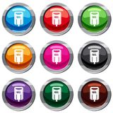 Post box set 9 collection. Post box set icon isolated on white. 9 icon collection vector illustration Royalty Free Stock Photo