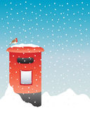 Post box in the snow. An illustration of a bright red post box in the snow with a robin sat on the top Royalty Free Stock Photos