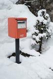 Post box in snowfall at yamadera japan Royalty Free Stock Photos