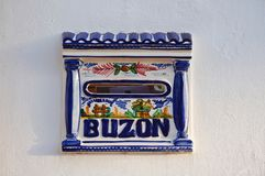 Post box vintage. Vintage colorful post box in spanish tradition. Buzon means mail box Stock Photos