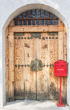 Post box with wood door Stock Photography