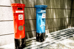 Post Boxes outside the Post Office in  the centre of Funchal on the Island of Madiera Royalty Free Stock Photo