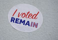 A post-Brexit Remain sticker. DURHAM, ENGLAND -A sticker on a street wall saying I VOTED REMAIN after the June 2016 Brexit referendum to take the United Kingdom Stock Image