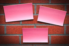 Post it brick wall Stock Image