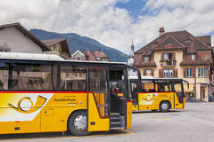Post buses in Ilanz Royalty Free Stock Photography