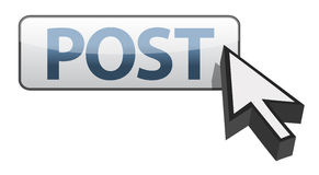 Post button and arrow cursor illustration Royalty Free Stock Image
