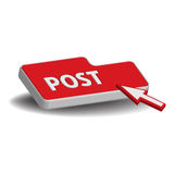Post button. Isolated red button with the word post. Internet posting concept Royalty Free Stock Photos