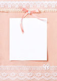Post card with blank sheet of paper. Bright soft pink colors Stock Photography