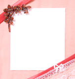 Post card with blank sheet of paper. Bright soft pink colors Stock Photo