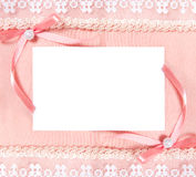 Post card with blank sheet of paper and two bows Royalty Free Stock Photography