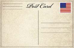 Post card with flag stamp. Blank postcard with flag stamp Royalty Free Stock Photo