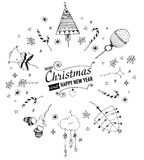 Post card with hand drawn christmas doodle. Royalty Free Stock Photo